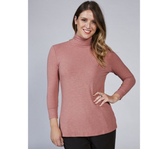 3/4 Sleeve Ribbed Roll Neck Top by Nina Leonard - 166884