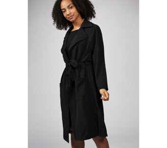 Long Sleeve Collared Duster Jacket with Side Slits by Nina Leonard - 170584