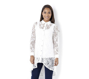 Yong Kim Long Lace Shirt with Gathered Back Panel - 114585