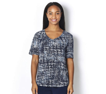 Kim & Co Brazil Knit Abstract Check Ruched V Neck Top - 163085