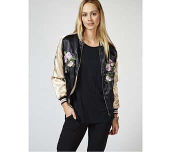Bonnie Day Embroidered Satin Bomber Jacket - 168085