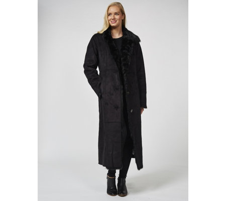 Dennis Basso Full Length Faux Shearling Coat