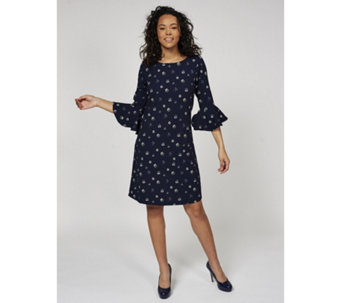 Printed 3/4 Bell Sleeve Crepe Dress by Nina Leonard - 170585