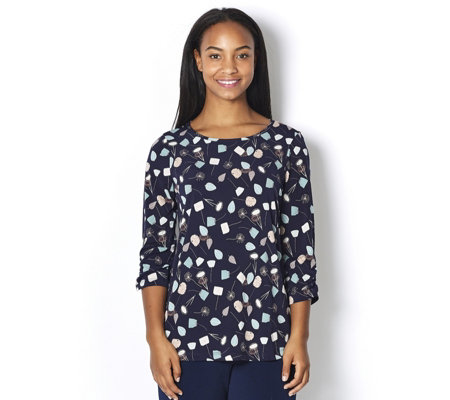 Kim & Co Brazil Knit Printed 3/4 Ruched Sleeve Top