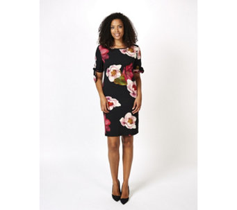 Ronni Nicole Floral Printed Scuba Dress with Boat Neck - 166286
