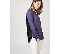 H by Halston Hacci Long Sleeve Tunic with Faux Suede Back - 166986
