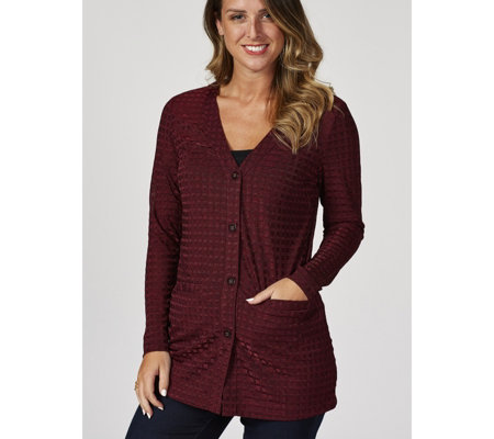 Dennis Basso Rib Knit Button Front Cardigan