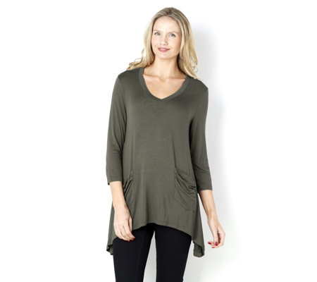 """As Is"" Logo by Lori Goldstein V-Neck Viscose 3/4 Sleeve Tunic"