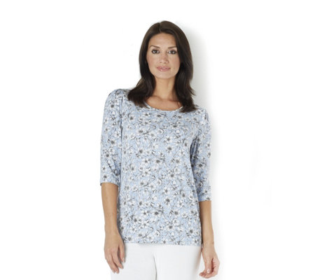 Kim & Co Monotone Petunias Brazil Knit Jersey 3/4 Sleeve Scoop Neck Top