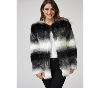 Bonnie Day Long Line Striped Faux Fur Jacket - 168087