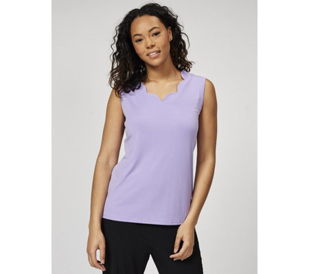Scallop Neckline Sleeveless Top by Michele Hope