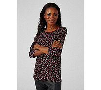 Kim & Co Shell Oriental Brazil Knit 3/4 Sleeve Top with Side Slits - 170387