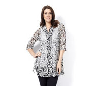 Rose Burnout Button Shirt by Michele Hope