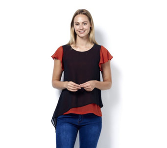 L'Officina della Moda Fluted Sleeve Tie Side Top - 166688