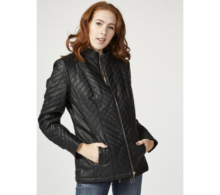 Dennis Basso Quilted Chevron Faux Leather Jacket