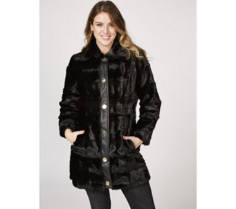Dennis Basso Sculpted Faux Mink Coat - 168488