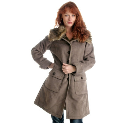 centigrade faux shearling coat with faux fur collar page 1 qvc uk