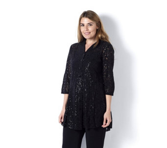 Sequin Lace Shirt by Michele Hope - 162589