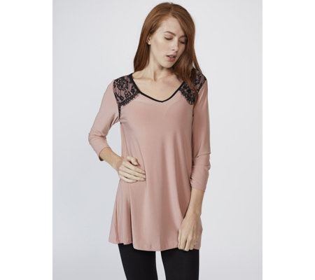 3/4 Sleeve V Neck Tunic with Lace Detail by Nina Leonard
