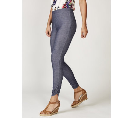Grace Denim Look Regular Jeggings with Side Ruching Detail