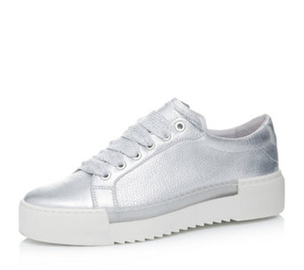 Bronx Metallic Leather Lace Up Flat Form Trainers - 172489