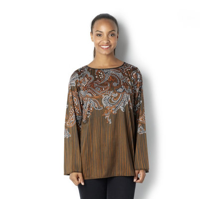 Bob Mackie Long Sleeve Multi Print Jersey Top