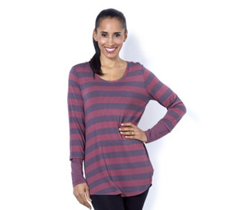 Logo by Lori Goldstein Stripe Tunic with Contrast Side Panels & Cuffs - 161290