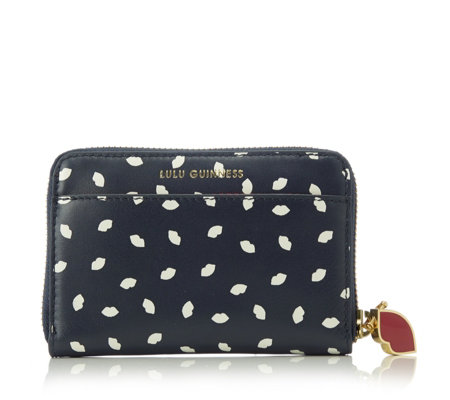 Lulu Guinness Mini Lip Print Small Leather Continental Wallet