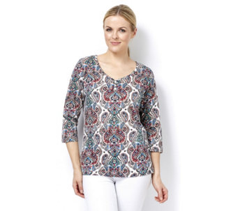 Artscapes Moroccan Paisley Print 3/4 Sleeve Round Neck Top - 165190