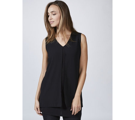 Sleeveless Jersey Chiffon Tunic by Michele Hope