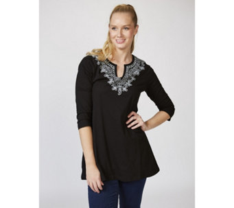 Artscapes Notch Neck 3/4 Sleeve Tunic with Placement Print - 165990