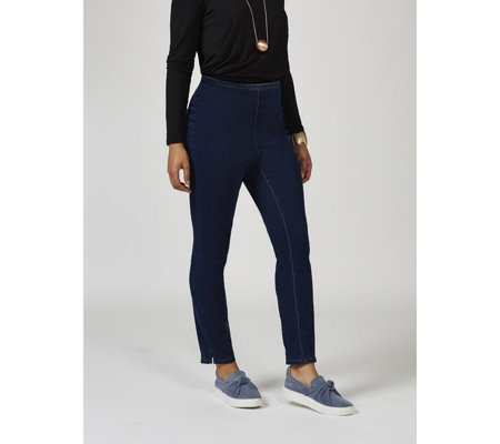 MarlaWynne Slim Fit Denim Trousers with Ankle Vent Regular