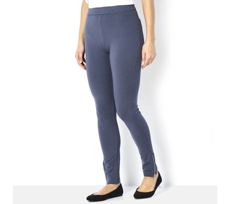 Weekend French Terry Knit Ankle Leggings Zip Detail by Susan Graver