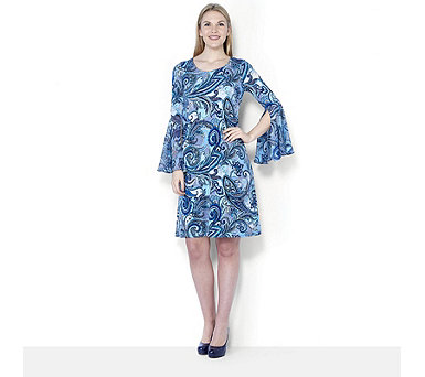 Coco Bianco Printed Jersey Fluted Chiffon Sleeve Dress - 163491