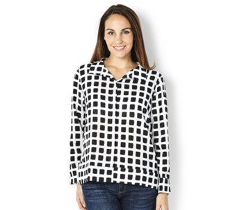 MarlaWynne Printed Pebble Crepe Button Front Shirt with Side Slits - 163891