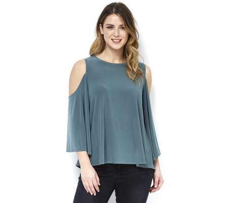 MarlaWynne Matte Jersey Cold Shoulder Flutter Sleeve Top