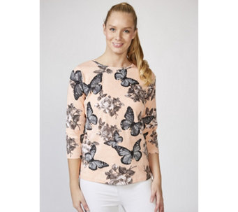 Artscapes Butterfly Roses 3/4 Sleeves Round Neck Top - 165991