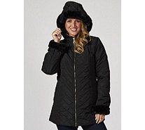 Dennis Basso Water Resistant Quilted Jacket with Faux Fur Trim - 167091