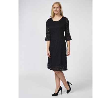Dennis Basso Stretch Lace Fit and Flare Dress