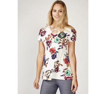 Grace Short Sleeve Printed Tunic with Crossover Front Neck Detail - 168591