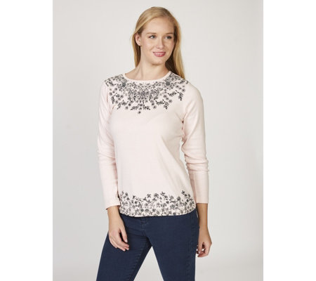 Artscapes Floral Sequin Scatter Detail Long Sleeve Top