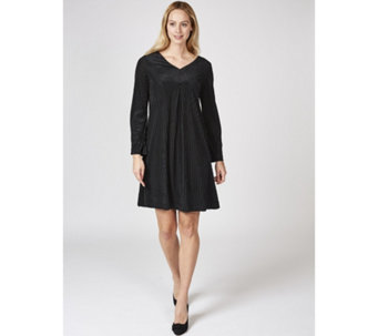 Long Sleeve V Neck Trapeze Dress by Nina Leonard - 169491