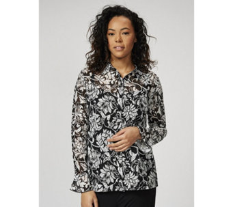 Printed Lace Shirt with Frill Sleeves by Michele Hope - 169591