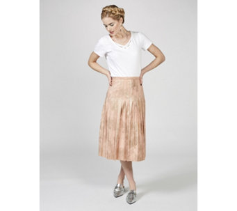 Du Jour Metallic Pleated Midi Skirt - 169991