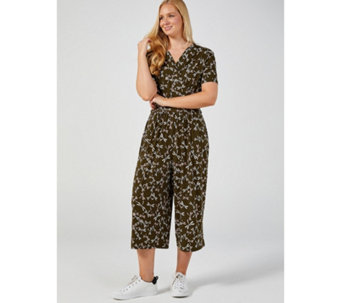 Kim & Co Dragonfly Festival Brazil Knit Short Sleeve Culotte Jumpsuit - 170391