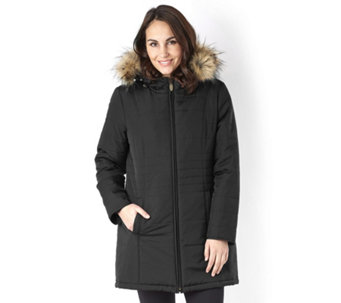 Centigrade Supersoft Fill Hooded Coat with Zip Out Faux Fur Lining - 156692