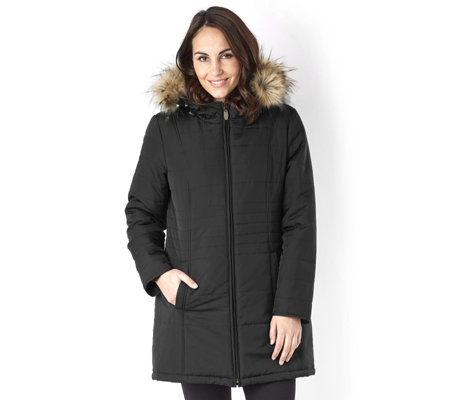 Centigrade Supersoft Fill Hooded Coat with Zip Out Faux Fur Lining