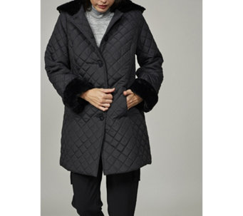 Dennis Basso Quilted Jacket with Faux Fur Trim Hood & Cuffs - 166092