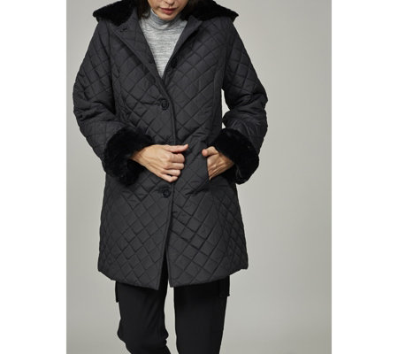 Dennis Basso Quilted Jacket with Faux Fur Trim Hood & Cuffs