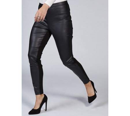 H by Halston Faux Leather & Ponte Leggings Petite